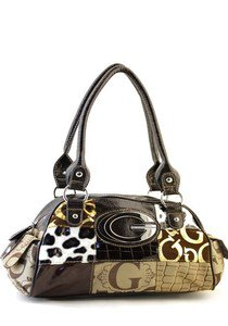 Brown designer Multicolor Patchwork inspired Celebrity Shoulder Bag Purse