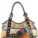 Brown designer Multicolor Patchwork inspired Celebrity Tote Shoulder Bag Purse