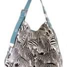 Blue Zebra Animal Print Designer Inspired Handbag Bag