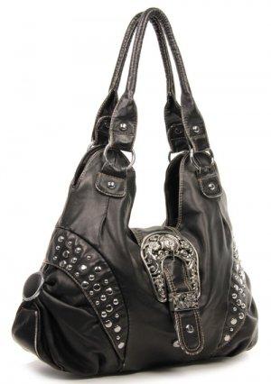 Bronze Designer Inspired Rhinestone Western Shoulder  Tall Handbag Purse Tote