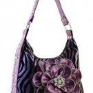 Purple Zebra Inspired Designer Zebra Print Faux Leather Handbag Purse