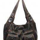 Bronze Washed Pockets Buckle Designer Shoulder Handbag Bag Purse
