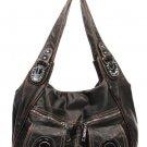 Dk Torquise Teal Washed Pockets Buckle Designer Shoulder Handbag Bag Purse