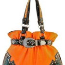 Orange Designer Rhinestone Inspired Faux Leather Western Handbag Purse Tote