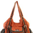 Orange 2 Tone Trim Designer Washed Inspired Faux Leather Handbag Purse