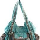 Blue Cyan 2 Tone Trim Designer Washed Inspired Faux Leather Handbag Purse