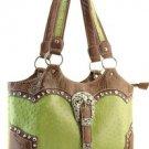 Green Designer Inspired Ostrich Print Belt Faux Leather Handbag Purse