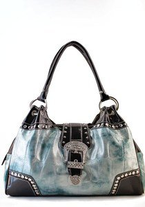 L Blue Designer Inspired Shinny Belt Rhinestone Western Celebrity Handbag Purse
