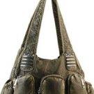 Bronze designer Studs 3 Pocket Western inspired Celebrity Shoulder Bag Purse