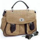 Tan designer inspired 2-tone Light briefcase crossbody messenger bag Handbag