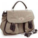 Gray designer inspired 2-tone Light briefcase crossbody messenger bag Handbag