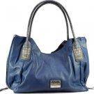 Blue designer inspired croco embossed material  Celebrity Handbag Purse Tote