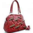 Red designer inspired Multicolor strip leather-likes houlder Purse Handbag