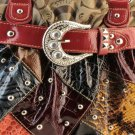 Brown Trim Designer Buckle Croc Inspired Patchwork tote Western Handbag Purse