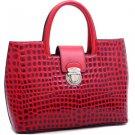 Red Petite Patent Croco Tote w/ Bonus Shoulder Strap Celebrity Handbag