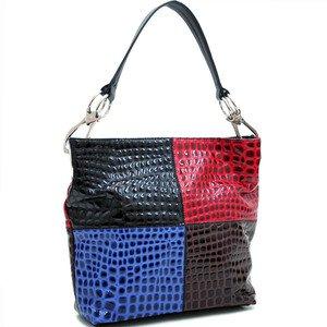 Black/Red/Blue designer Checkered Block Color Patent Croco Hobo Celebrity Handba