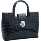 Black Petite Patent Croco Tote w/ Bonus Shoulder Strap  Celebrity Handbag