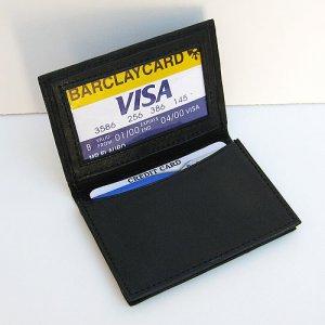 BLACK LEATHER ID Credit Cards expandable Holder Men Wallet  202