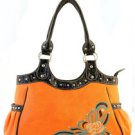 Orange Designer Floral Inspired Faux Leather Handbag Purse Tote