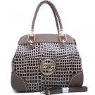 Coffee Sophisticated Designer Croco Embossed Inspired Tote Handbag Braided Strap