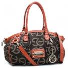 Designer Style Women Shoulder Purse Bag Croco Handbag Inspired Coffee/Orange