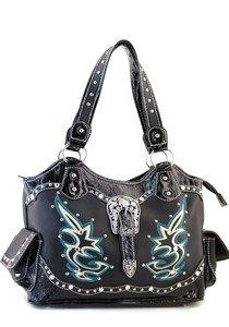 Black Designer  Studs Inspired Tribal tote Western Handbag Purse