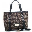 Designer Style Women's  Shoulder Tote Bag Croco Handbag Inspired Coffee/Black