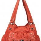 Black Studded Hip Shoulder Inspired Designer Washed Handbag Purse Cute!