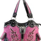 Hot Pink Designer  Studs Inspired Tribal tote Western Handbag Purse