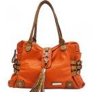 Orange designer inspired Croco Shoulder Bag Belt Tassel Accents Handbag Purse