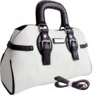 White designer inspired Satchel Croco Attachable Shoulder Strap Handbag Purse