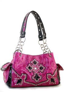 Pink Designer Cross Studs  Inspired tote Western Handbag Purse New