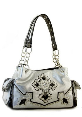 Silver Designer Cross Studs  Inspired tote Western Handbag Purse New
