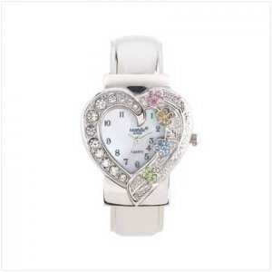Heart Dial Silver Cuff Watch