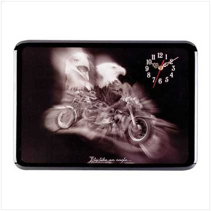 Eagle on Motorcycle Clock