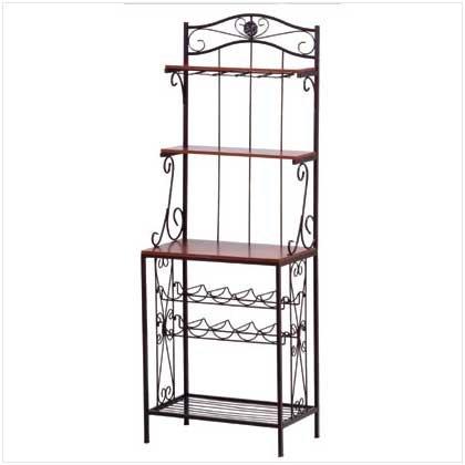 Wood Metal Wine Rack Shelf