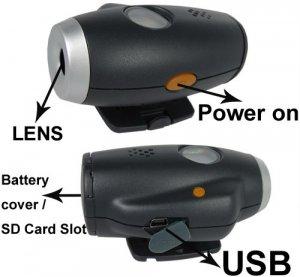 Cmos Sensor Helmet Spy Camera support SD Card