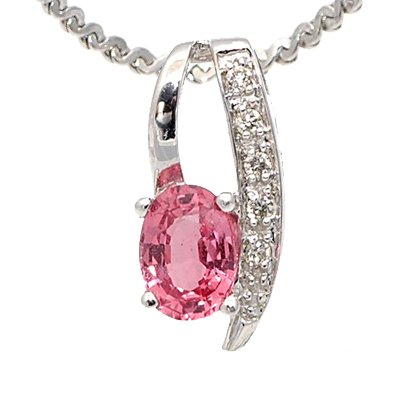New 14K White Gold 1.01ct Diamond and Pink Sapphire Pendant Jewelry