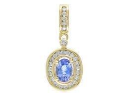 New 14K Gold 1.26ct Tanzanite and Diamond Pendant Jewelry