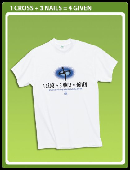 Christian T-shirt: 1 Cross + 3 Nails= 4 Given Size Medium