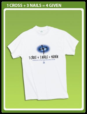 Christian T-shirt: 1 Cross + 3 Nails= 4 Given Size 2X
