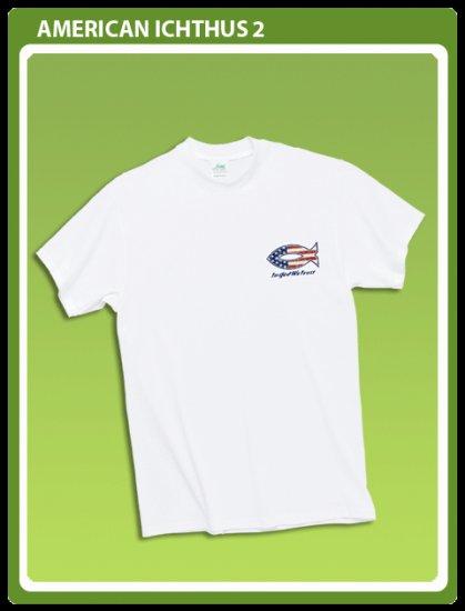Christian T-shirt: Patriotic Ichthus Size Medium