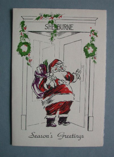 Vintage Shelburne Hotel Atlantic City Santa Christmas Card