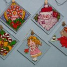 1980 Vintage Set 5 Glass Squares Christmas Ornaments