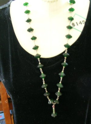 Antique Vaseline Glass Bead Necklace