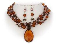 Topaz & Brown Triple Necklace Set
