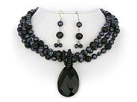 Black & Charcoal Triple Necklace Set