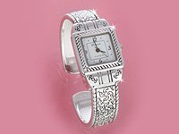 Silver Brighton Look Cuff Watch
