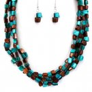 Teal & Brown Multi-Shell Necklace Set