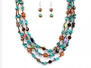Brown & Teal Stone & Glass Necklace Set